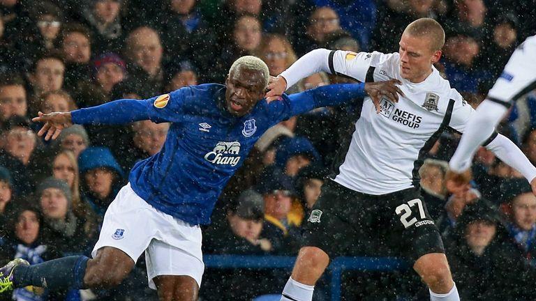 Everton's Arouna Kone in action at Goodison Park against Krasnodar
