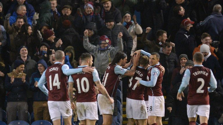 Ashley Barnes celebrates with team-mates after scoring the winning goal