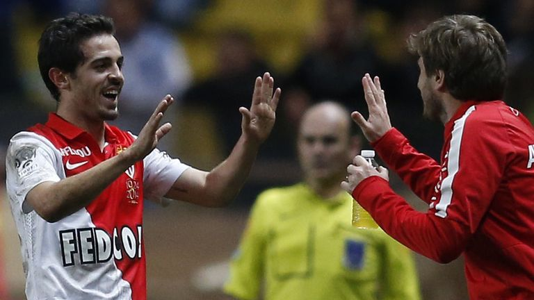 Bernardo Silva (L) celebrates after scoring a goal for new club Monaco