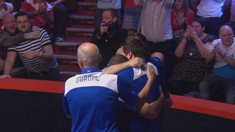Europe celebrate victory in the 2014 Mosconi Cup