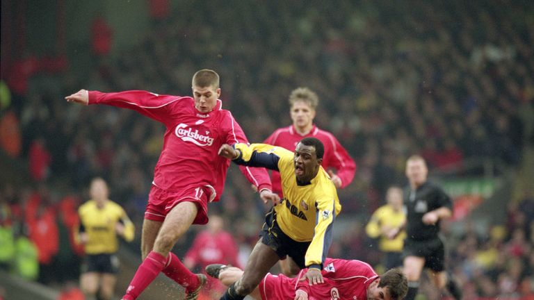 Steven Gerrard and Markus Babbel combine to halt Patrick Vieira in December 2000