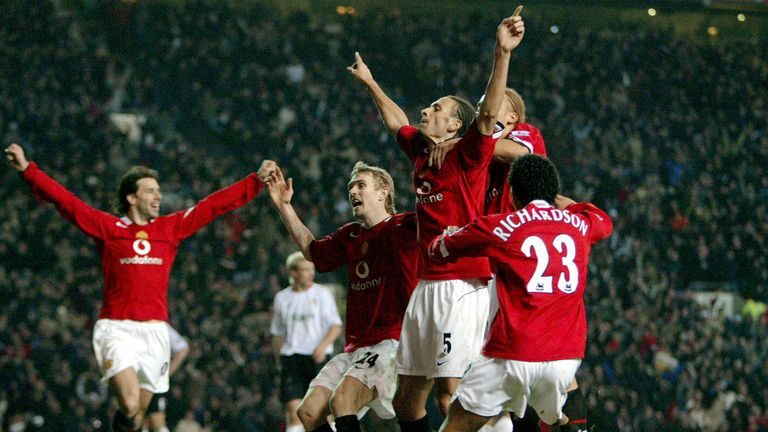 Rio Ferdinand milks the applause after scoring in injury time against Liverpool in 2006