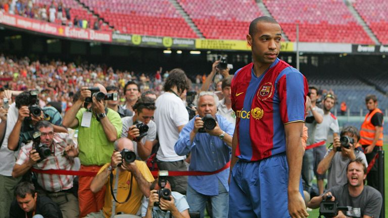 Henry is presented to the media at the Camp Nou stadium after signing for Barcelona in 2007