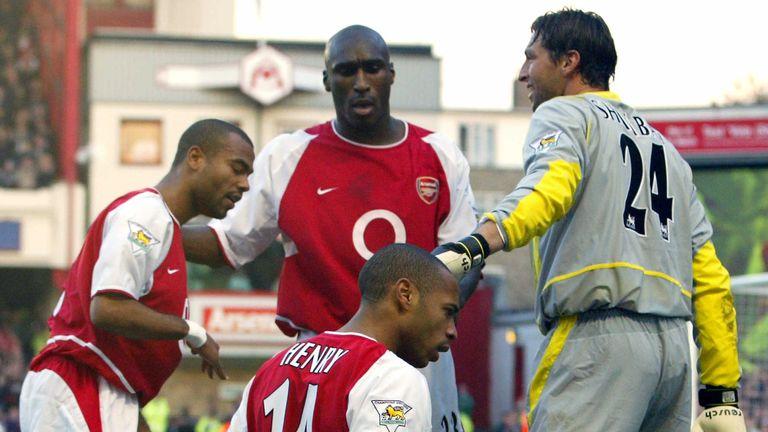 Henry's knee slide celebration in front of the visiting Tottenham fans in 2002