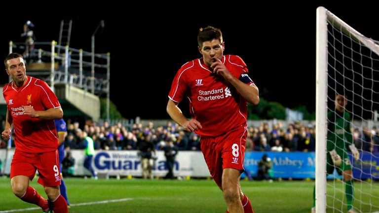 Steven Gerrard celebrates the opening goal