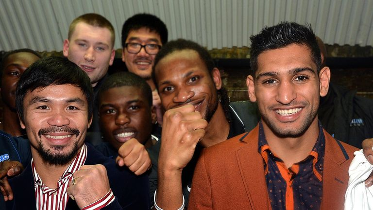 Manny Pacquiao and Amir Khan at Fitzroy Lodge