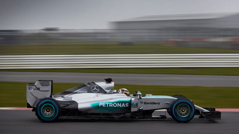 Lewis Hamilton drives the W06 at Silverstone