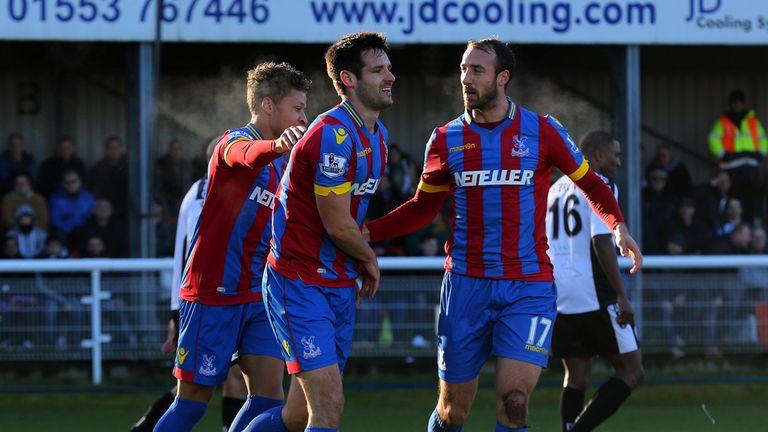 Scott Dann: Celebrates his first goal against Dover