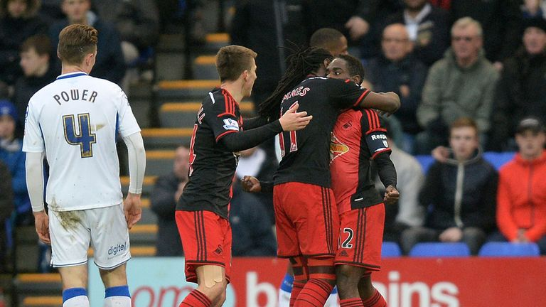 Nathan Dyer celebrates scoring Swansea's first against Tranmere