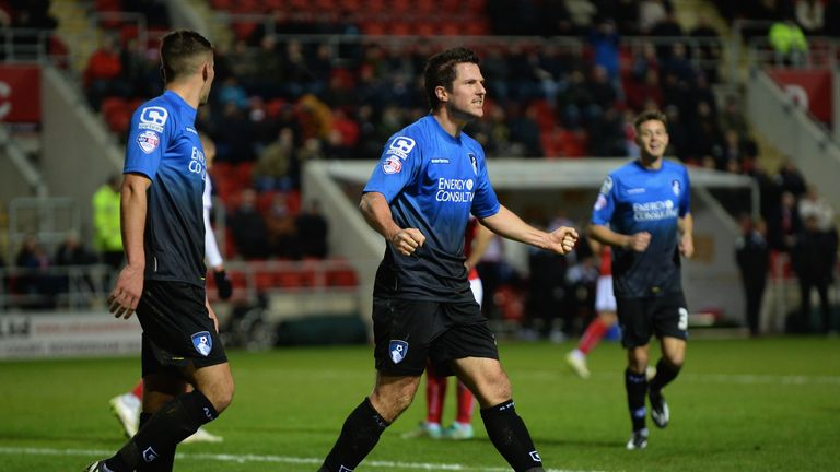 Yann Kermorgant: Celebrates after scoring two goals for Bournemouth against Rotherham