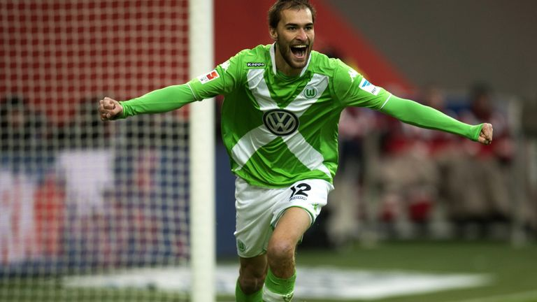 Bas Dost celebrates after giving Wolfsburg the lead