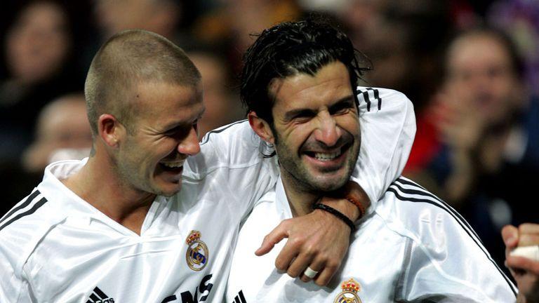 David Beckham alongside another galactico, Luis Figo