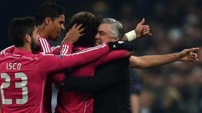 Carlo Ancelotti and Marcelo celebrate the second goal