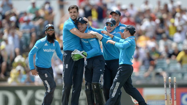 England skipper Eoin Morgan joins the celebration as England claim a wicket in a recent clash with Australia.