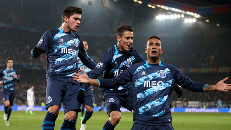 Danilo celebrates Porto's equaliser