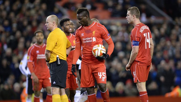 Balotelli took over penalty duties despite Jordan Henderson and Daniel Sturridge being keen to take it