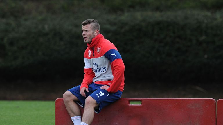 Jack Wilshere of Arsenal during a training session at London Colney on January 31, 2015 in St Albans, England.