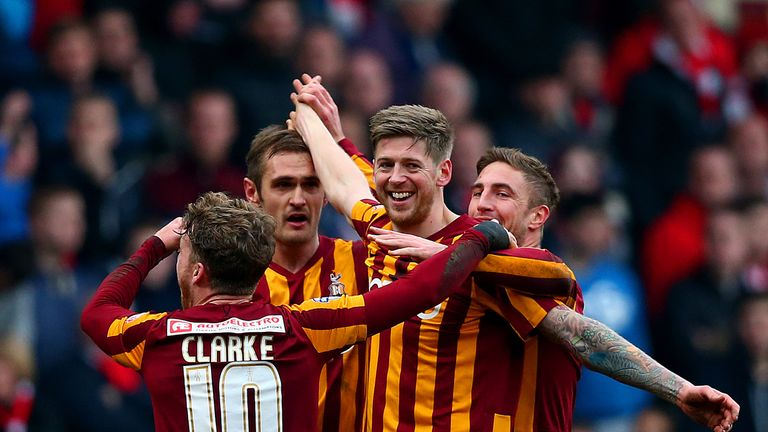 Jon Stead: Celebrates scoring Bradford's second