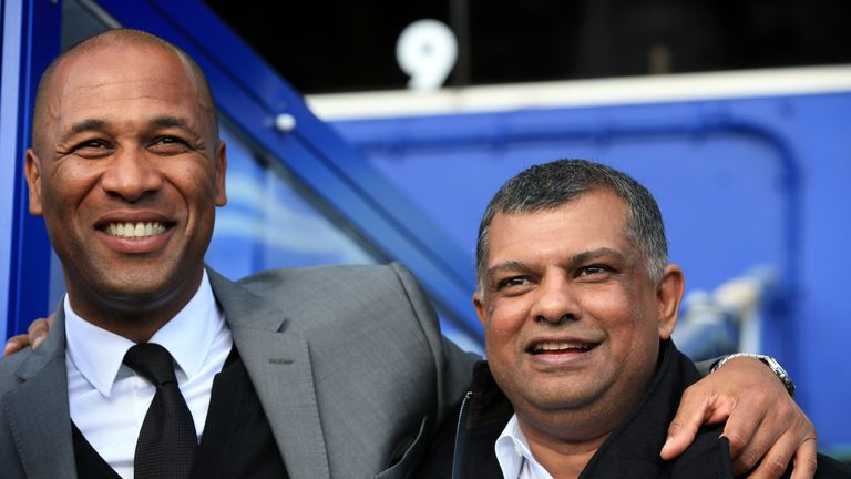 Les Ferdinand hugs QPR chief executive Tony Fernandes