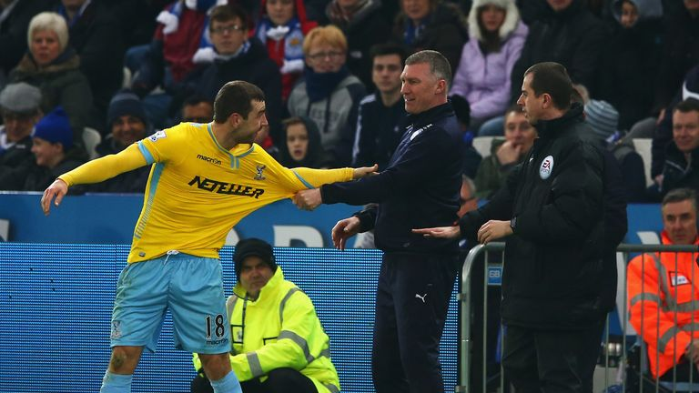 Nigel Pearson (C) was involved in a touchline incident with James McArthur of Crystal Palace last season