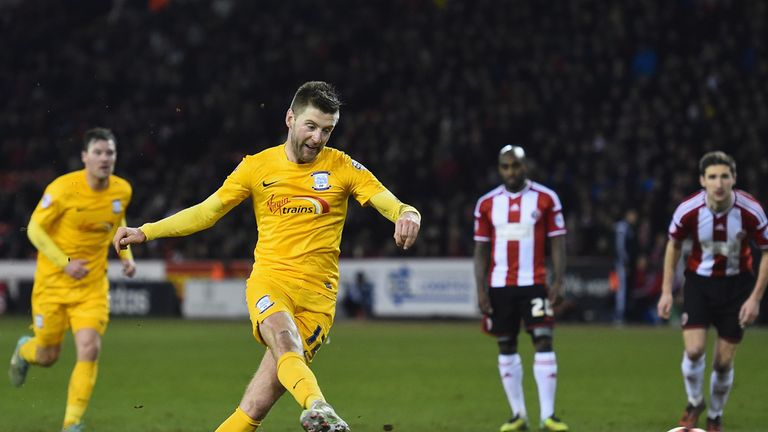 Preston North End's Paul Gallagher scores his side's third goal  from the penalty spot