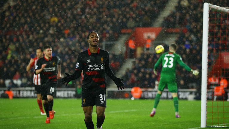Raheem Sterling celebrates scoring Liverpool's crucial second goal at St Mary's