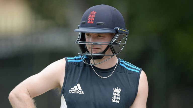 Adam Lyth in the nets with England Lions