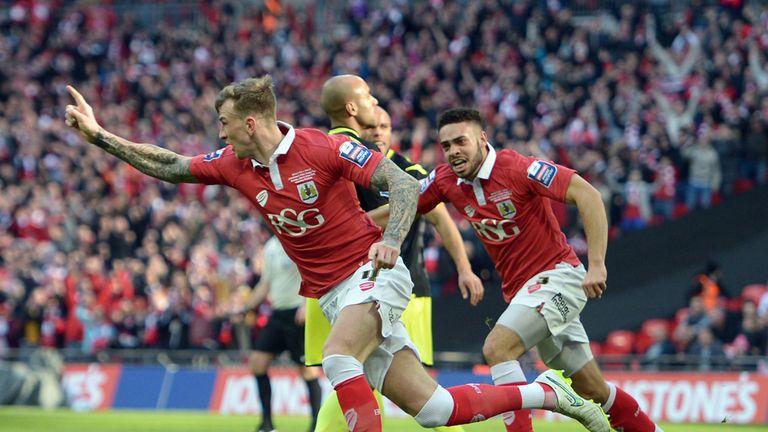 Aden Flint: Celebrates scoring Bristol City's opener at Wembley