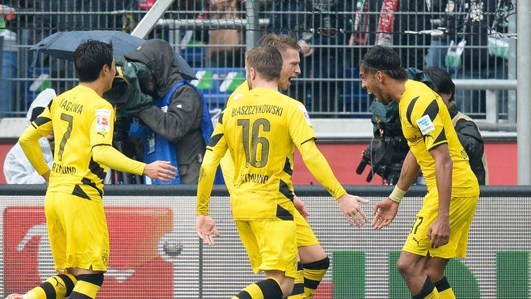 Aubameyang of Dortmund celebrates scoring his goal