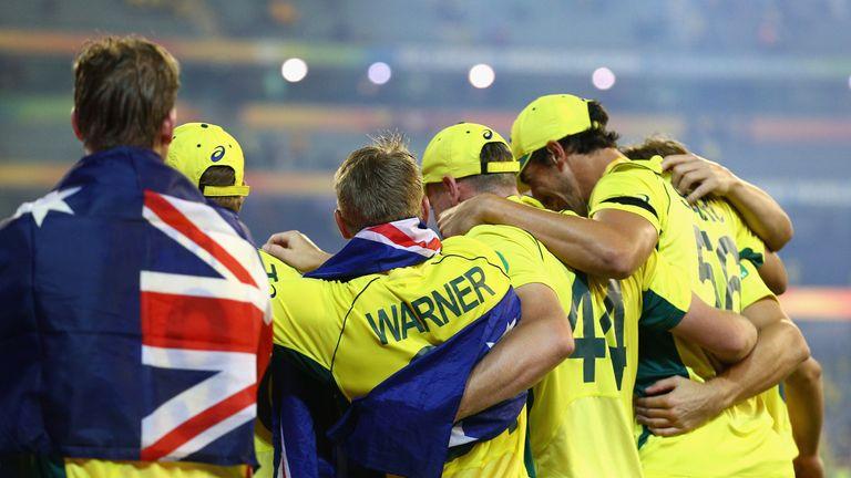 Australia celebrate after winning Sunday's final