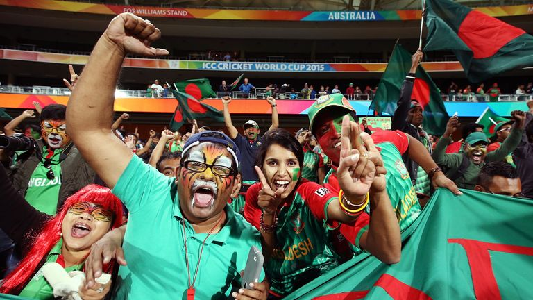 Bangladesh supporters celebrating their win over England at the 2015 Cricket World Cup
