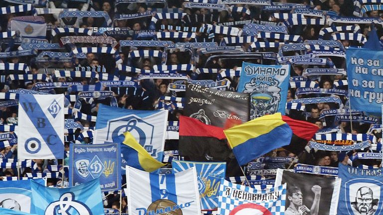 Dynamo Kiev supporters before the match with Everton