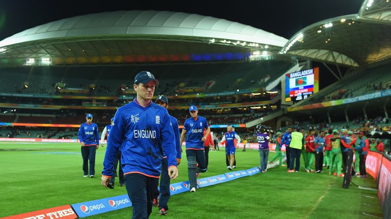 Morgan trudges off the field after England's World Cup exit in 2015