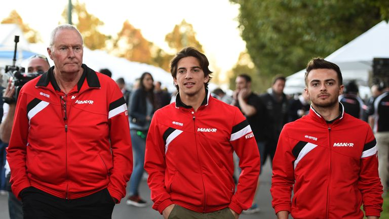 John Booth with his drivers Roberto Merhi and Will Stevens
