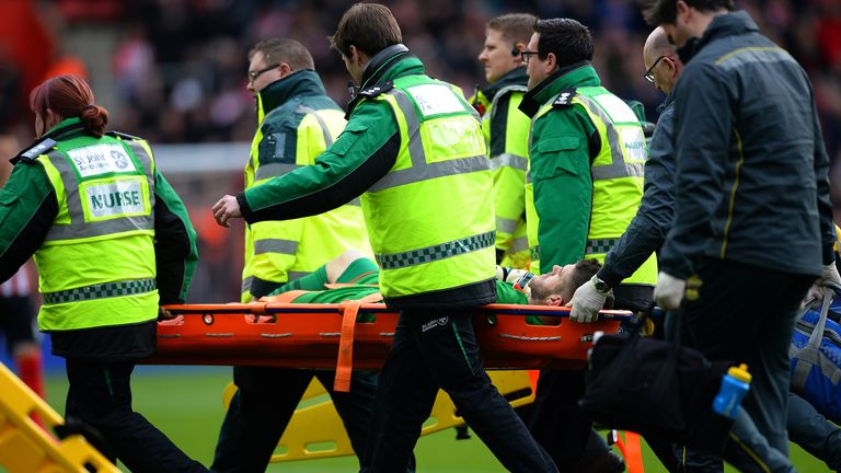 England and Southampton goalkeeper Fraser Forster was injured during the opening 10 minutes against Burnley at St Mary's