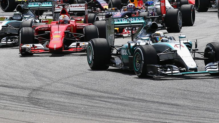 Hamilton led away from pole, but was eventually overhauled by the Ferrari