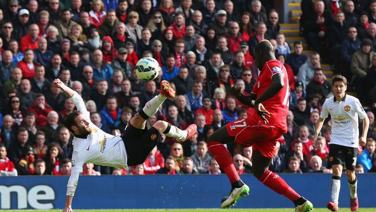Juan Mata: scores his second goal against Liverpool at Anfield