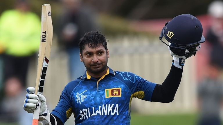 Kumar Sangakkara became the first man to score four consecutive ODI hundreds as Sri Lanka beat Scotland by 148 runs in the Cricket World Cup