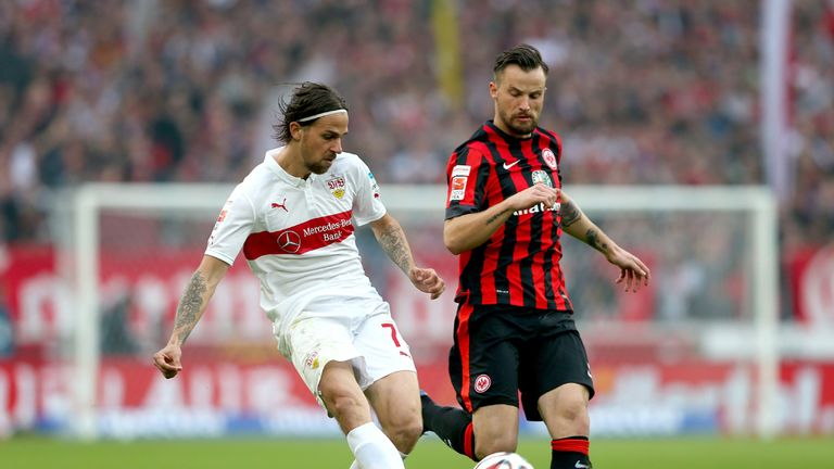 Martin Harnik of Stuttgart battles for the ball with Haris Seferovic  (R) of Frankfurt
