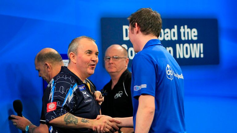Phil Taylor and Dave Pallett at the UK Open