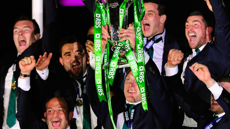 Ireland captain Paul O' Connell lifts the trophy