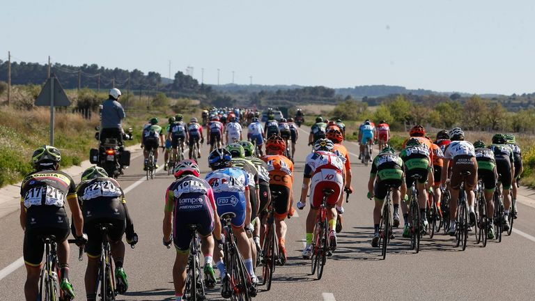 An example of echelons from this year's Volta a Catalunya