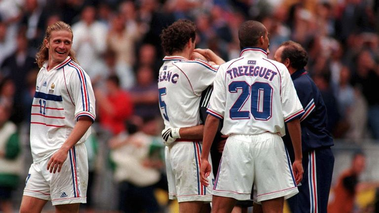Laurent Blanc kisses Fabian Barthez's head after the penalty shootout win over Italy in the 1998 World Cup quarter-final