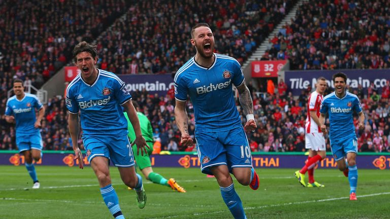 Connor Wickham (middle) celebrates scoring against Stoke last season