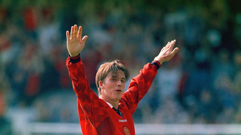 David Beckham celebrates after scoring from the halfway line at Selhurst Park in 1996