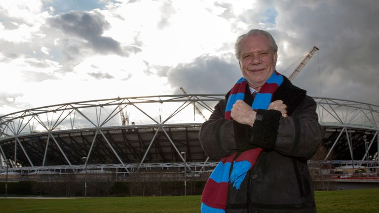 West Ham chairman David Gold poses outside the club's new home