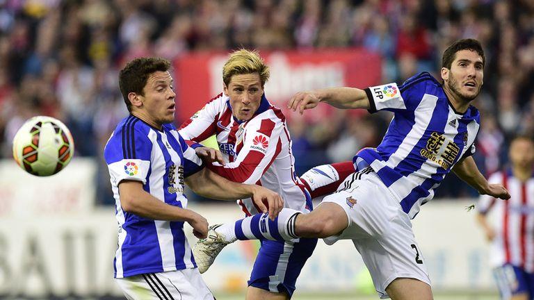 Fernando Torres is put under plenty of pressure against Real Sociedad
