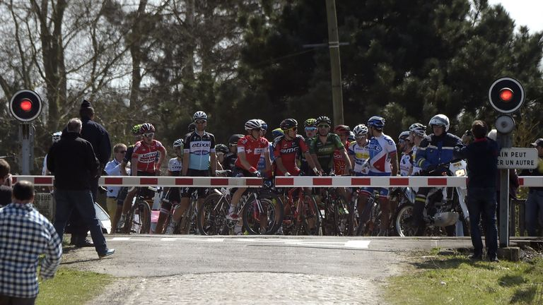 The peloton was unexpectedly stopped at a level crossing during last year's Paris-Roubaix