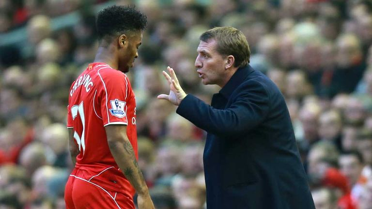 Brendan Rodgers gives instructions to Raheem Sterling