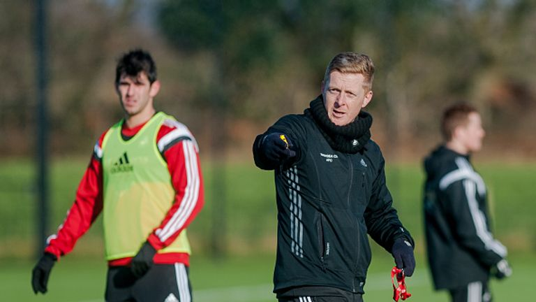 Garry Monk gives instructions during a Swansea City training session